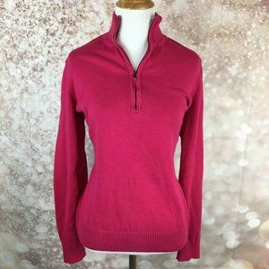 Foxcroft Pullover Sweater 1/4 Zip Large Pink